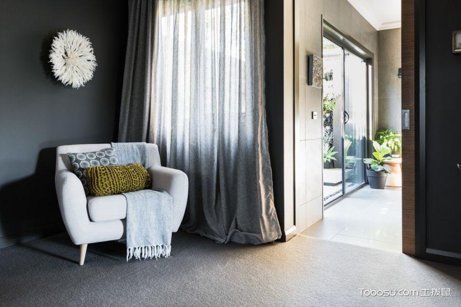 卧室灰色窗帘混搭风格装潢效果图