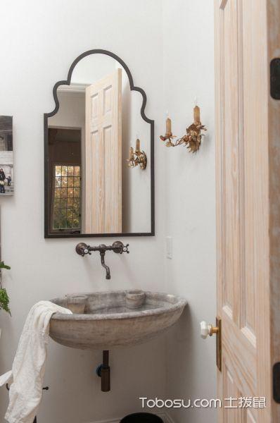 卫生间灰色洗漱台地中海风格装潢效果图