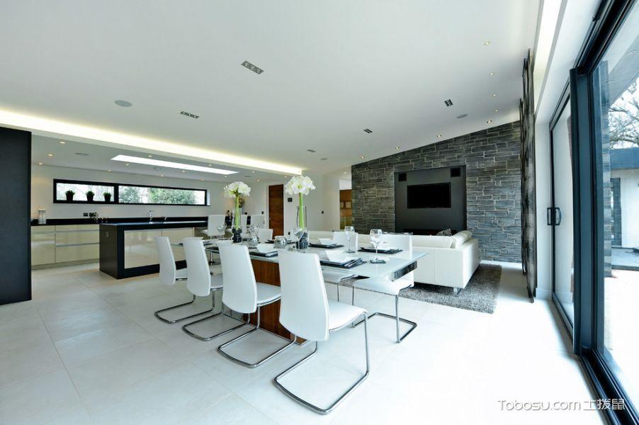 餐厅白色地砖现代风格装饰设计图片
