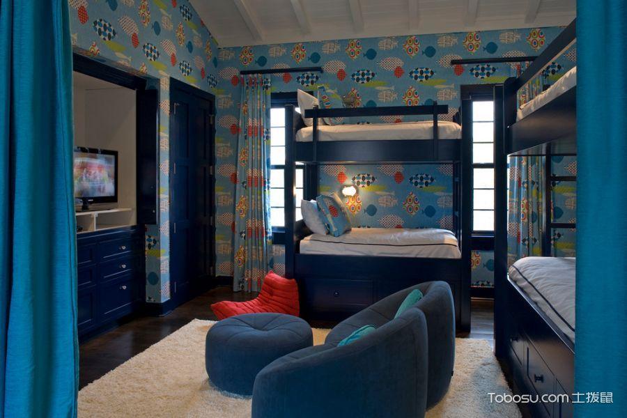 儿童房蓝色窗帘地中海风格装饰图片