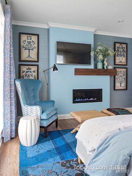 卧室蓝色照片墙现代风格装饰设计图片