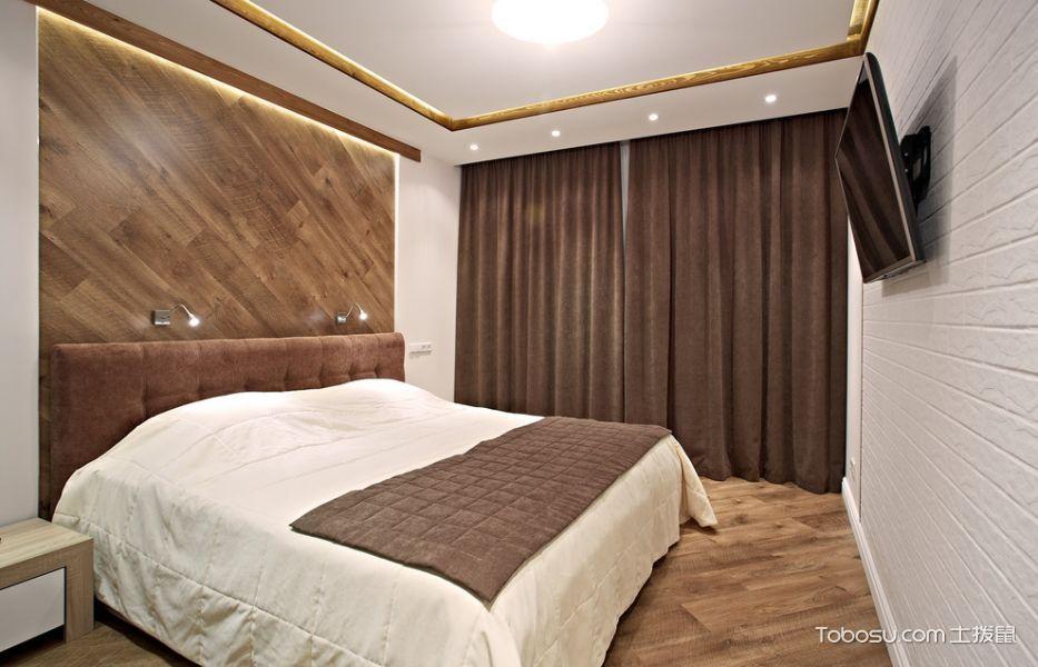 卧室咖啡色窗帘现代风格装饰设计图片