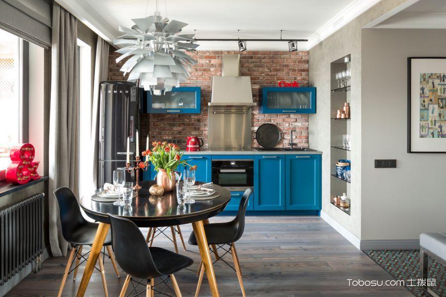 厨房蓝色橱柜现代风格装饰图片