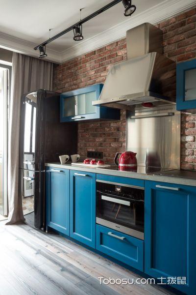 厨房蓝色橱柜现代风格装修效果图