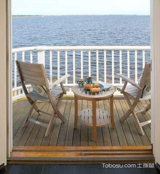 阳台咖啡色地板砖美式风格装饰图片