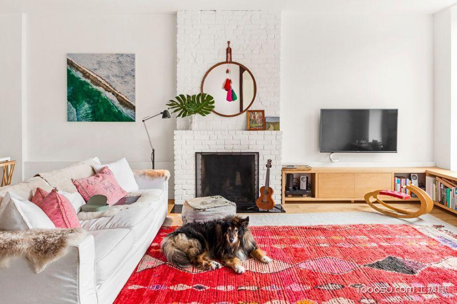 客厅黄色电视柜混搭风格装修图片