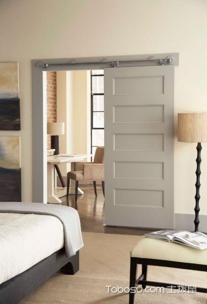 卧室灰色推拉门现代风格装修设计图片