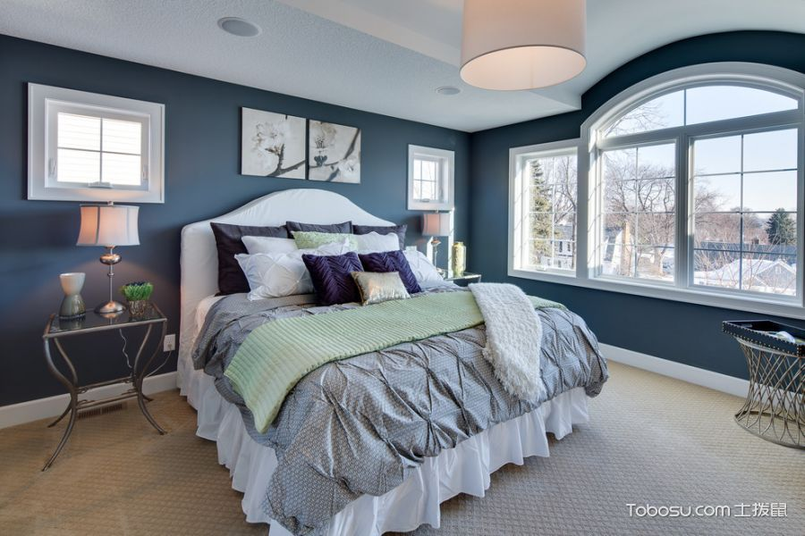 卧室蓝色照片墙美式风格装潢效果图