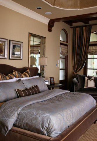 卧室床地中海风格装潢效果图
