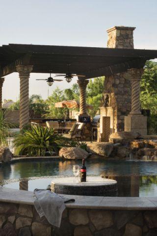 花园泳池地中海风格装饰图片