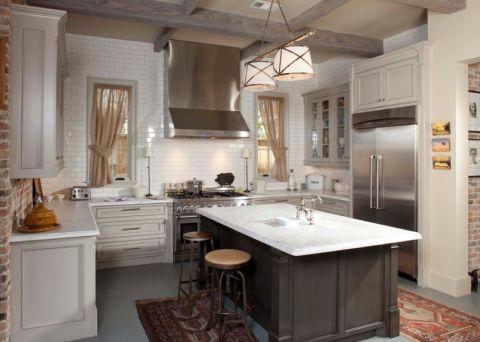 厨房美式风格效果图大全2017图片_土拨鼠美好温馨厨房美式风格装修设计效果图欣赏