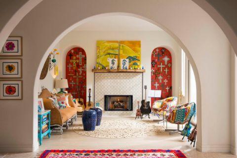 客厅地砖混搭风格效果图
