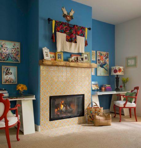 客厅书桌混搭风格装修图片