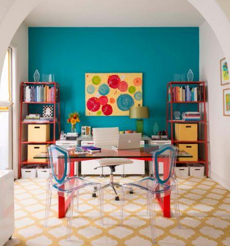 书房书桌混搭风格装修设计图片