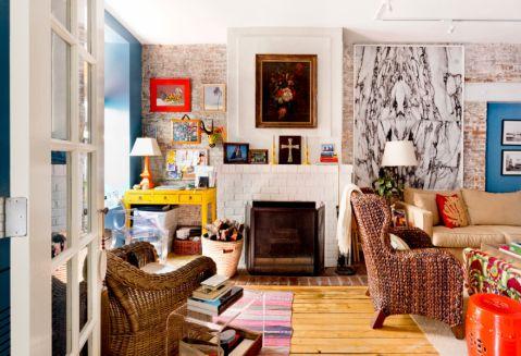 客厅地板砖混搭风格效果图