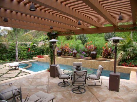 花园泳池美式风格装潢图片