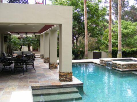 花园泳池美式风格装修设计图片