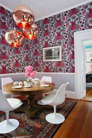 餐厅白色吊顶混搭风格装饰设计图片