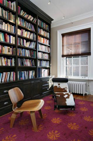 书房黑色书架混搭风格装饰效果图