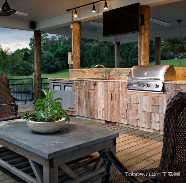 阳台咖啡色地板砖美式风格效果图