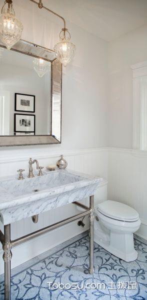 卫生间白色美式风格装潢设计图片