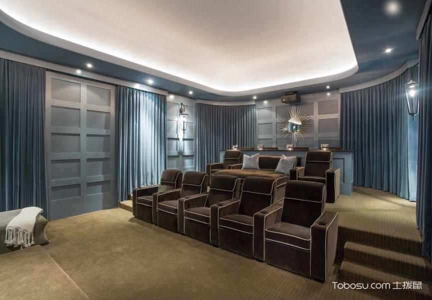 客厅蓝色窗帘地中海风格装潢图片