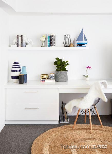 卧室白色书桌北欧风格装潢图片