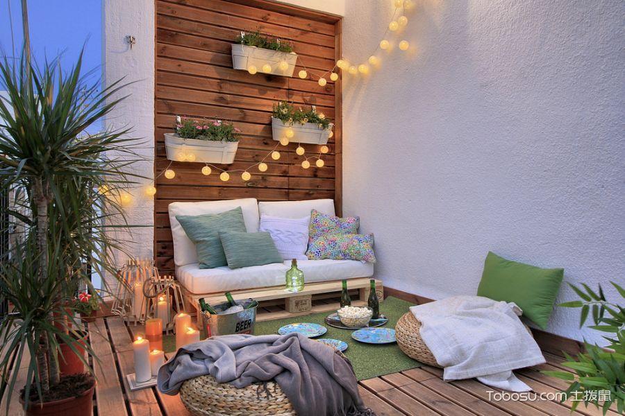 阳台咖啡色地板砖地中海风格装饰效果图