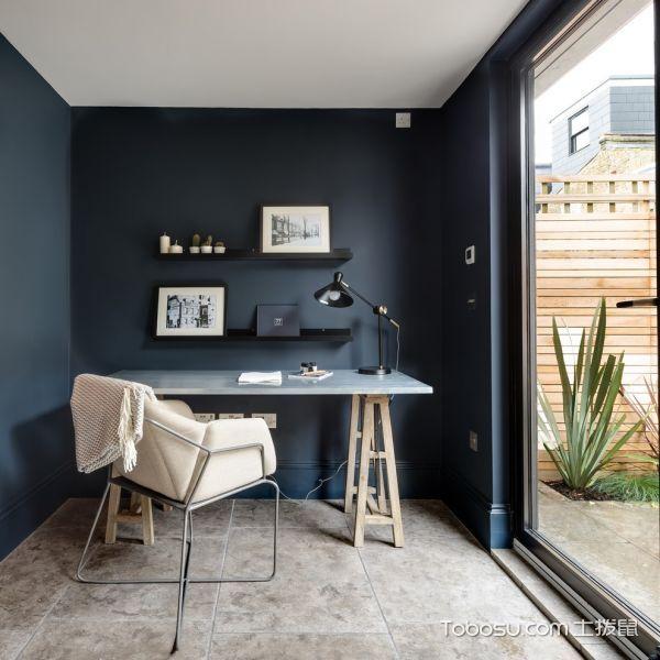 书房蓝色书桌北欧风格装饰图片