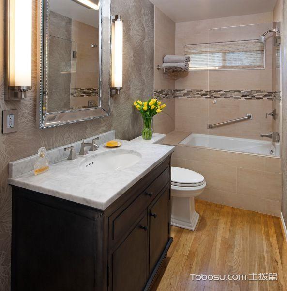 卫生间黑色洗漱台美式风格装潢设计图片