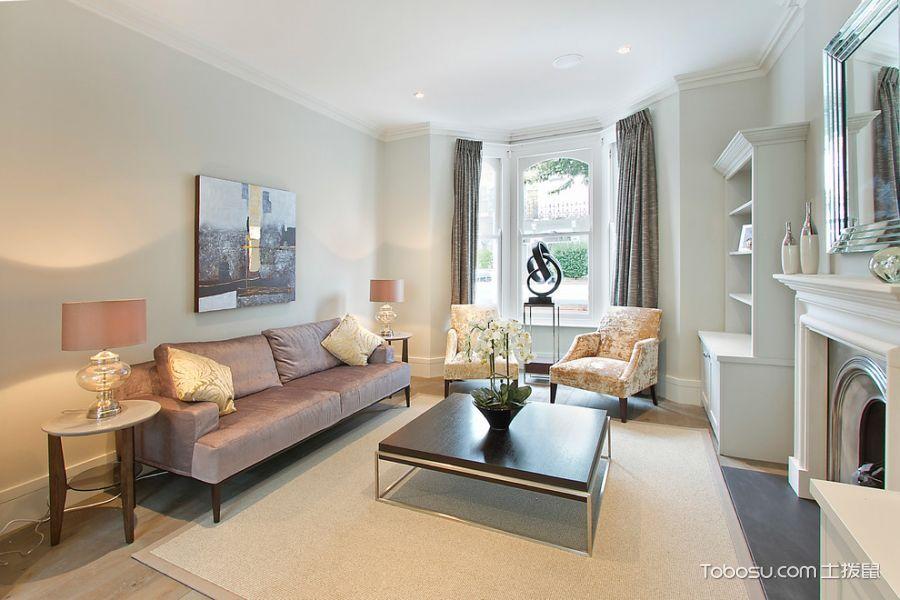 客厅灰色窗帘现代风格装潢设计图片