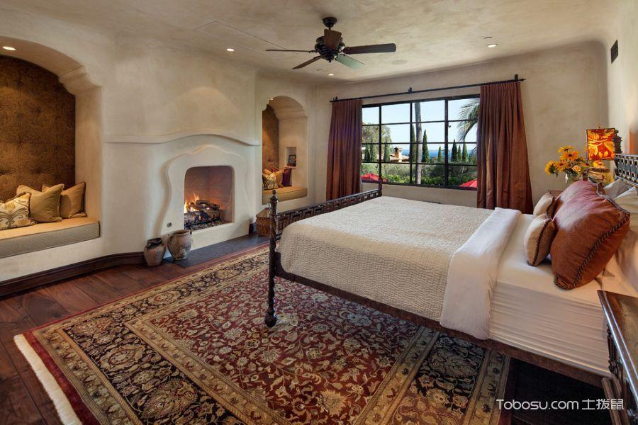 卧室咖啡色窗帘地中海风格装潢设计图片
