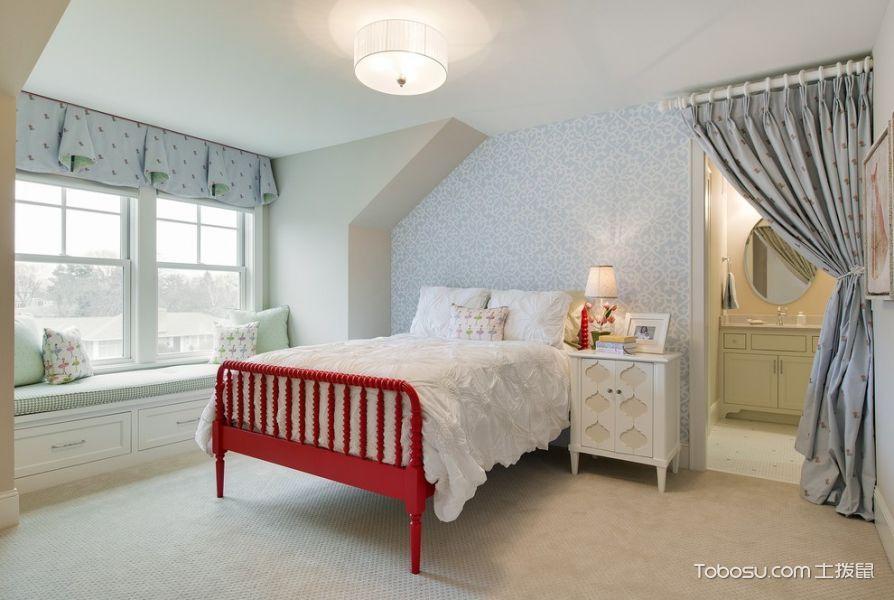 卧室灰色背景墙美式风格装修设计图片