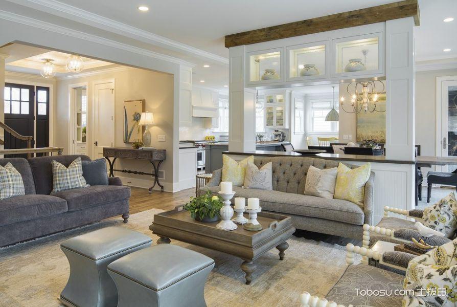 客厅灰色沙发美式风格装潢设计图片