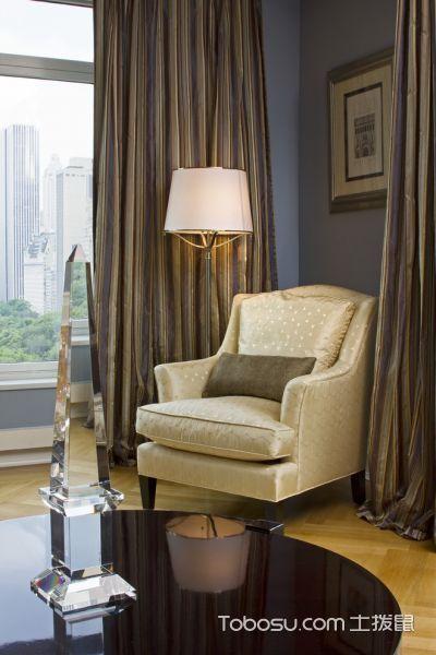 客厅灰色窗帘美式风格装饰图片