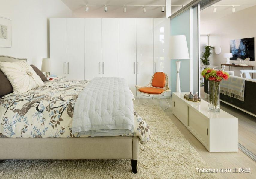 卧室白色隔断现代风格装潢设计图片