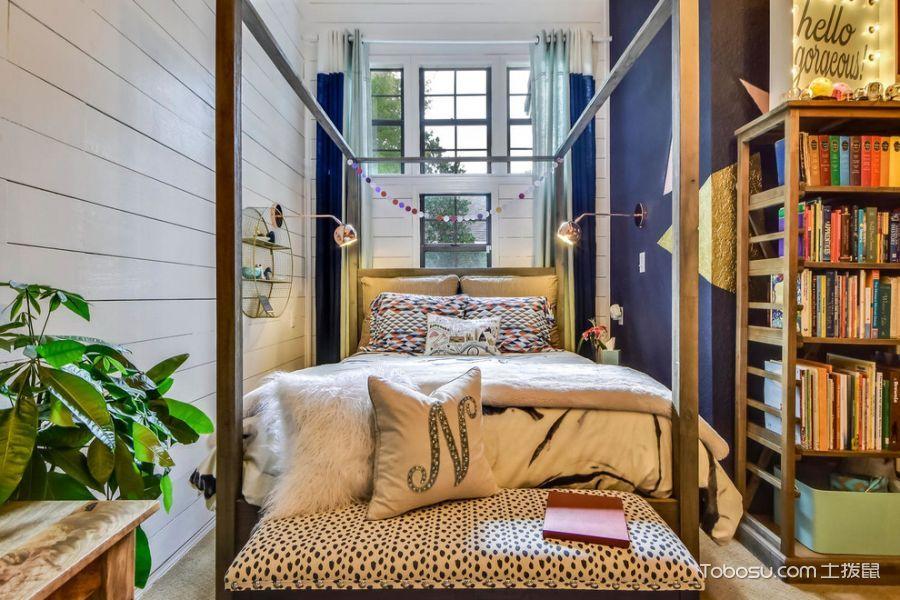 卧室蓝色窗帘混搭风格装潢效果图
