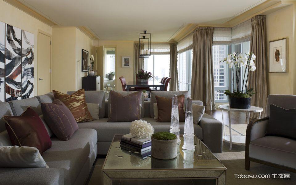 客厅灰色窗帘混搭风格装潢图片