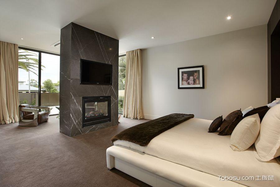 卧室米色窗帘现代风格装修效果图