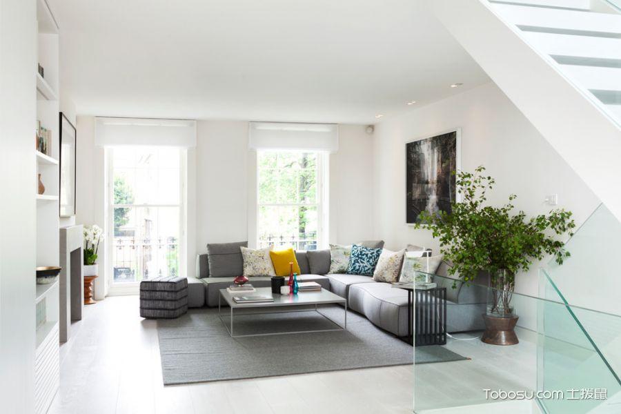 客厅灰色沙发现代风格装潢设计图片