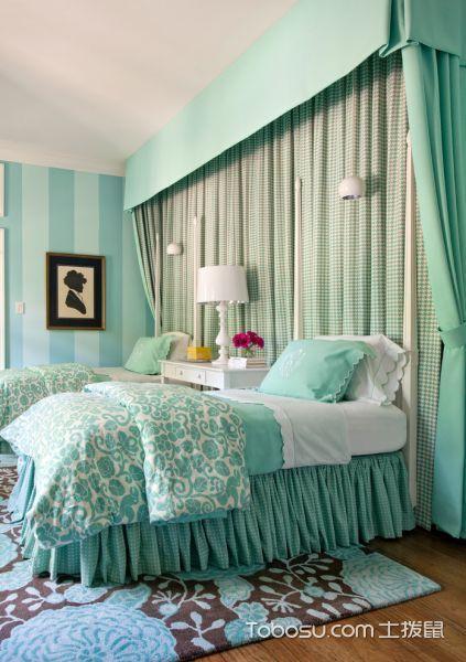 卧室绿色窗帘美式风格装饰设计图片
