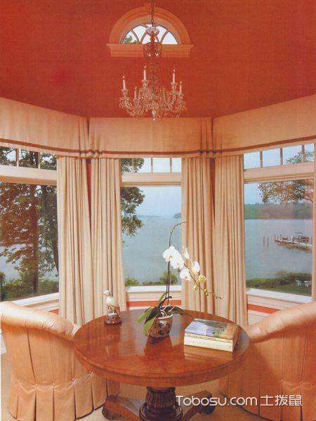 卧室米色窗帘美式风格效果图