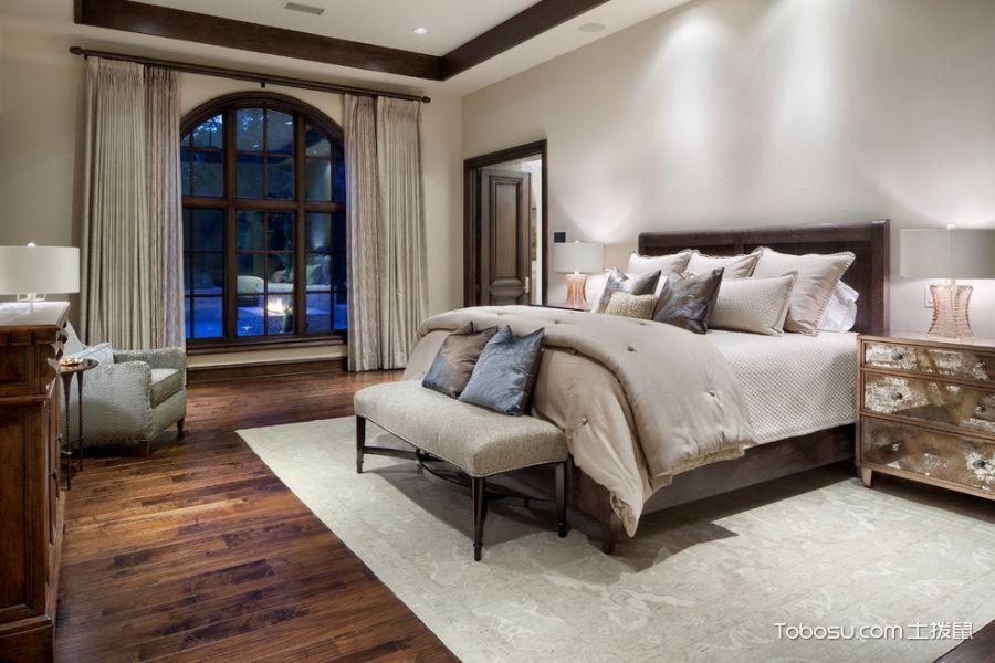 卧室米色窗帘地中海风格装潢设计图片