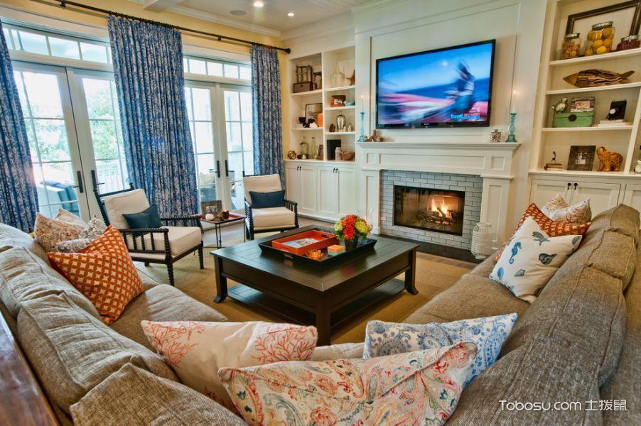 客厅蓝色窗帘美式风格装潢效果图