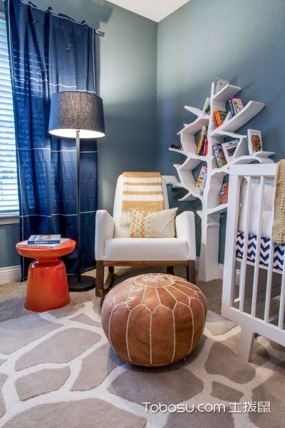 儿童房蓝色窗帘混搭风格装潢效果图