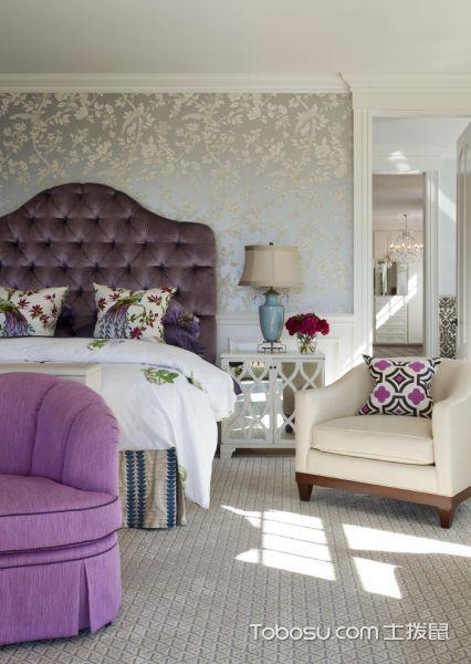 卧室灰色地板砖美式风格装修图片