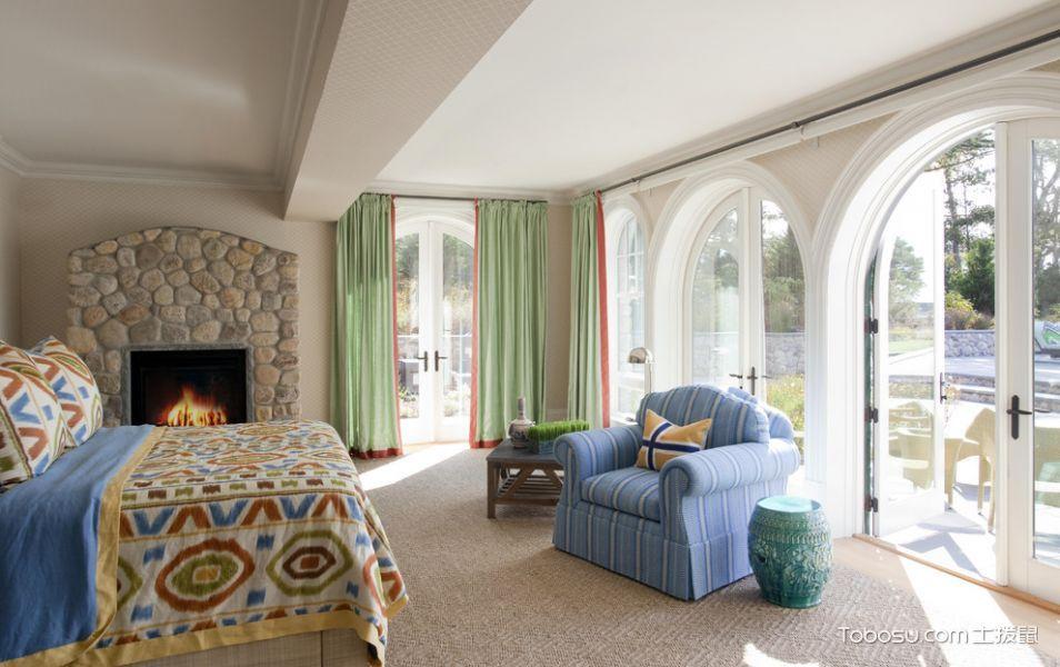 卧室绿色窗帘美式风格装修设计图片