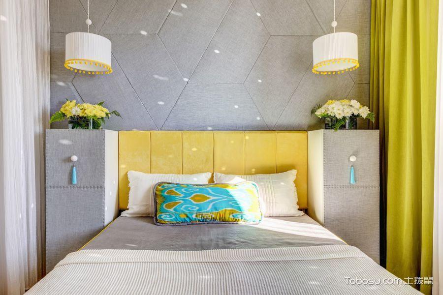 卧室绿色窗帘北欧风格装修图片
