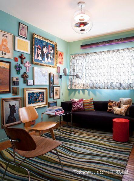 客厅蓝色混搭风格装修设计图片