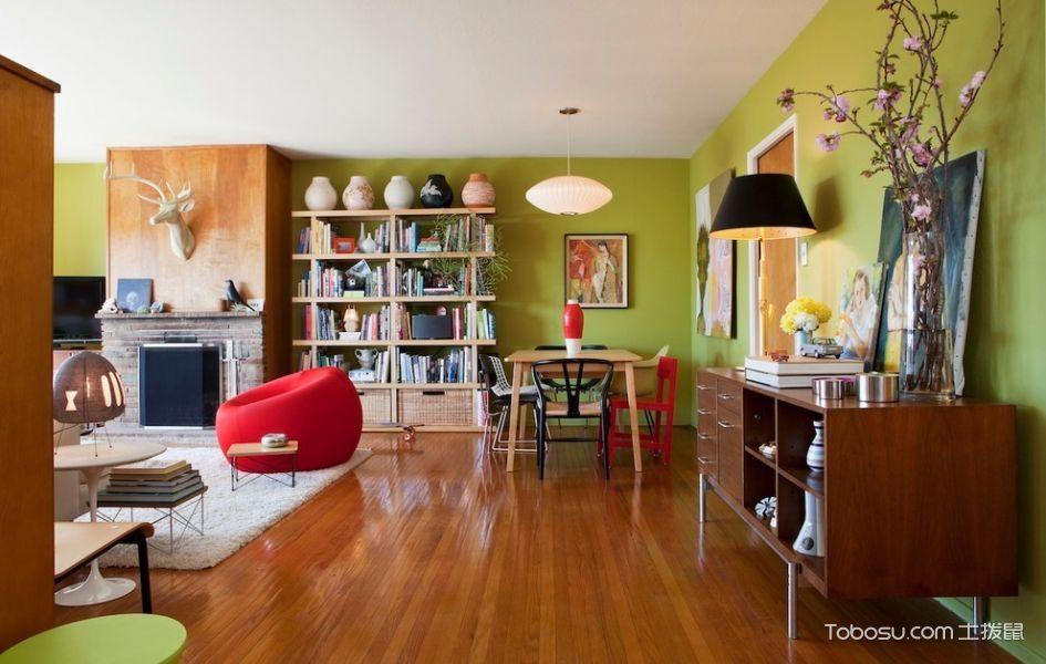 客厅绿色混搭风格装饰设计图片